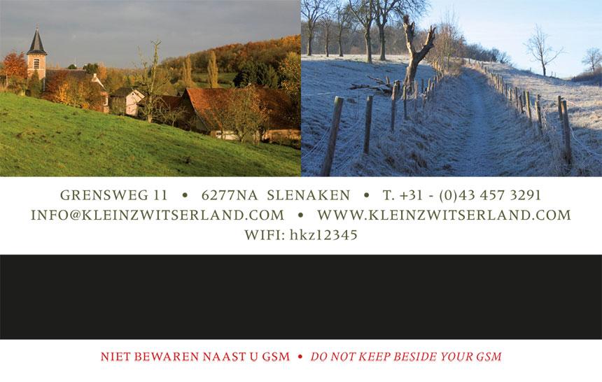 Hotel Klein Zwitserland - gastenkaart